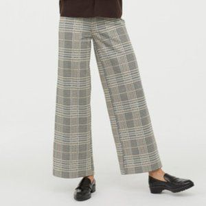 H&M Houndstooth Check Wide Leg Trouser Pants